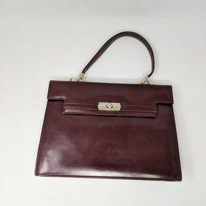 Vintage Harrods Leather Top Handle Purse Bag